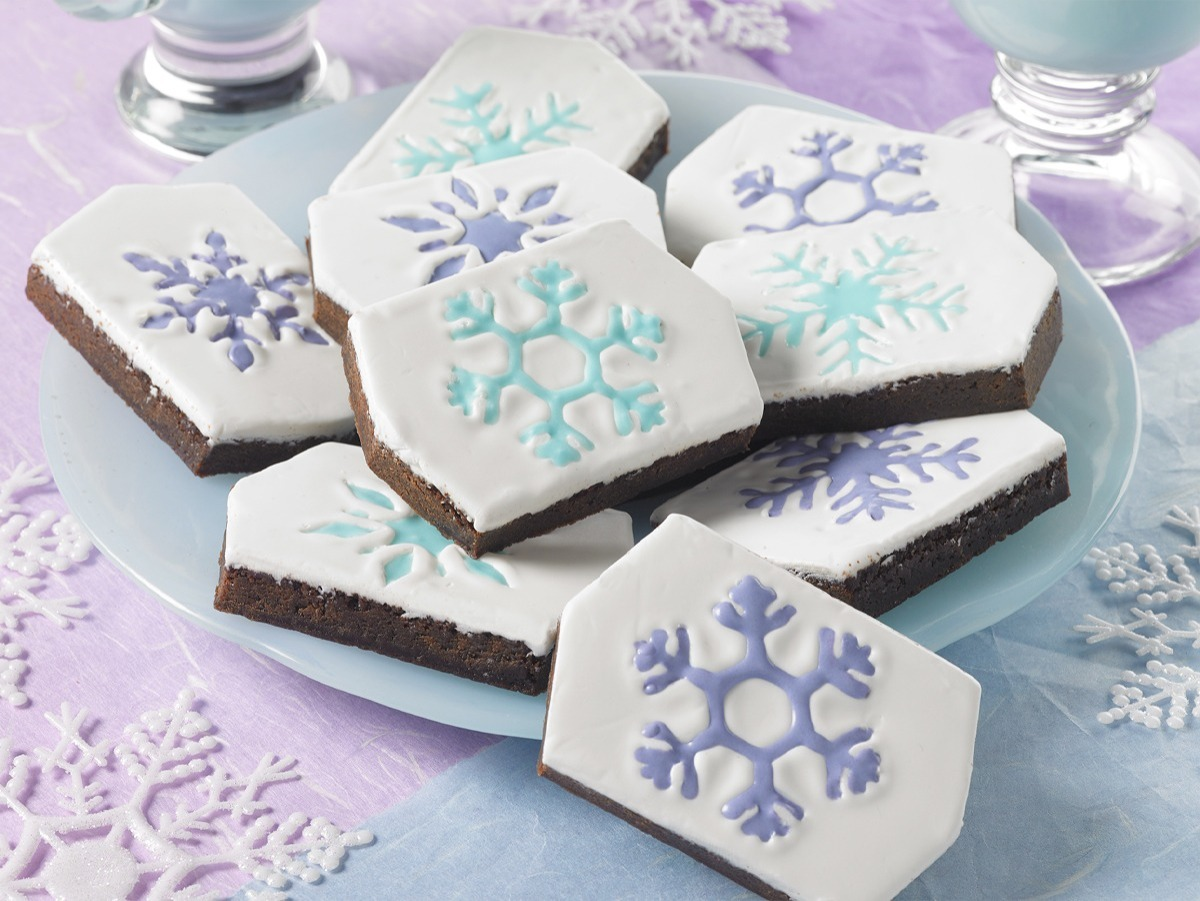 Little Debbie Snowflake Brownies with colorful icing used in the snowflake imprint.