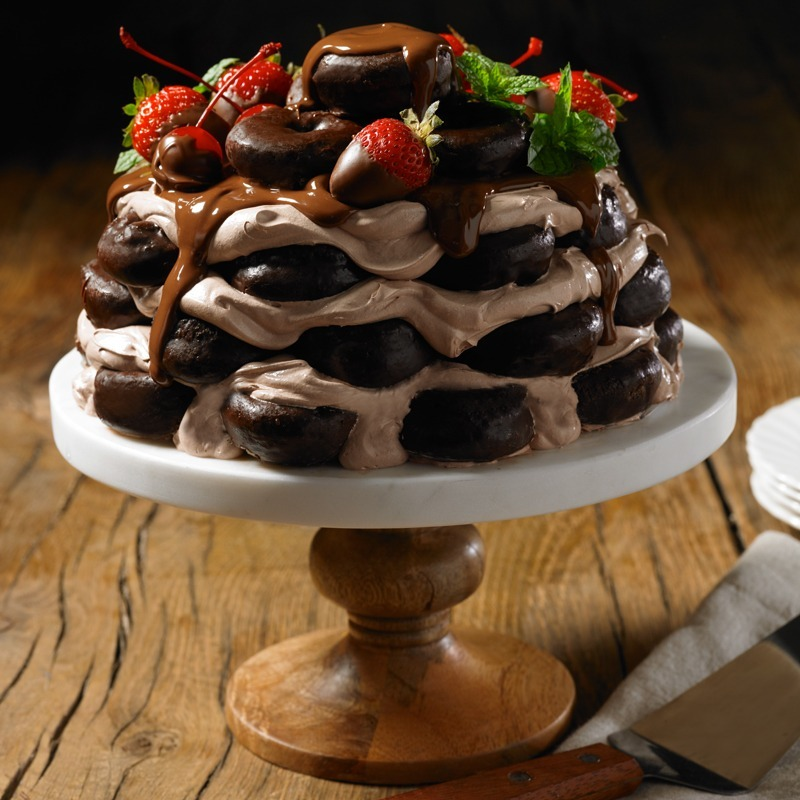 Double Chocolate Mini Donuts Cake