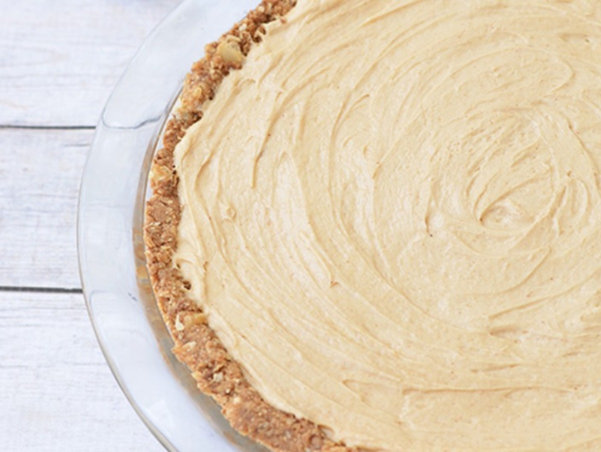 Peanut butter pie filling smoothed into crust.