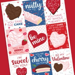 Free printable Valentines featuring Little Debbie products.