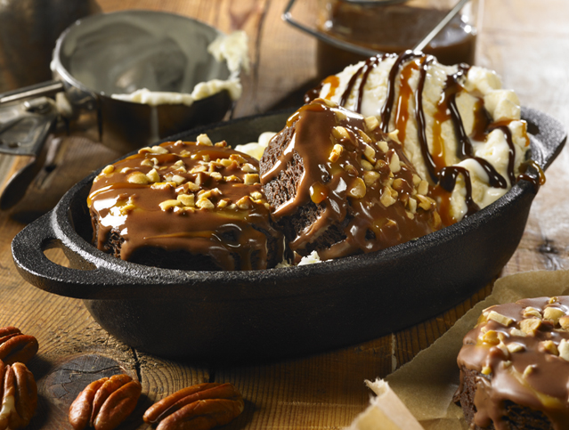 Turtle Brownies Hot Fudge Sundae