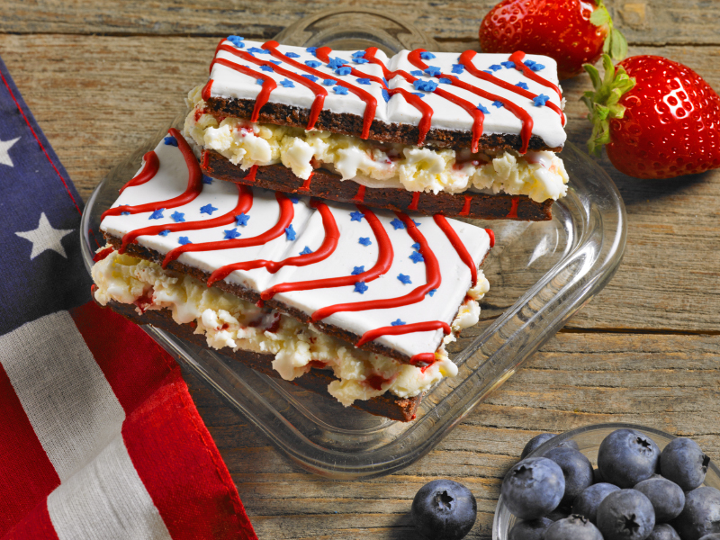 Red, White and Blue Brownies Ice Cream Sandwiches